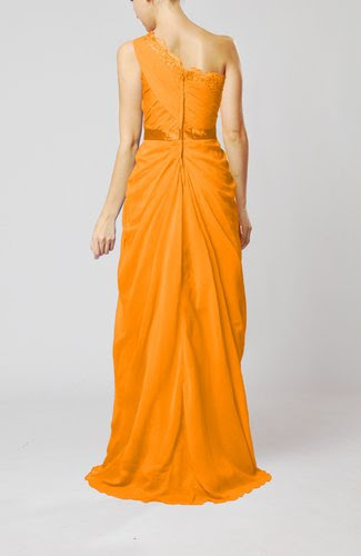 orange elegant sheath one shoulder zipper chiffon ribbon
