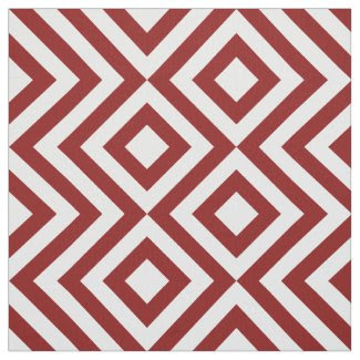 Geometric Red and White Zigzags and Diamonds Fabric