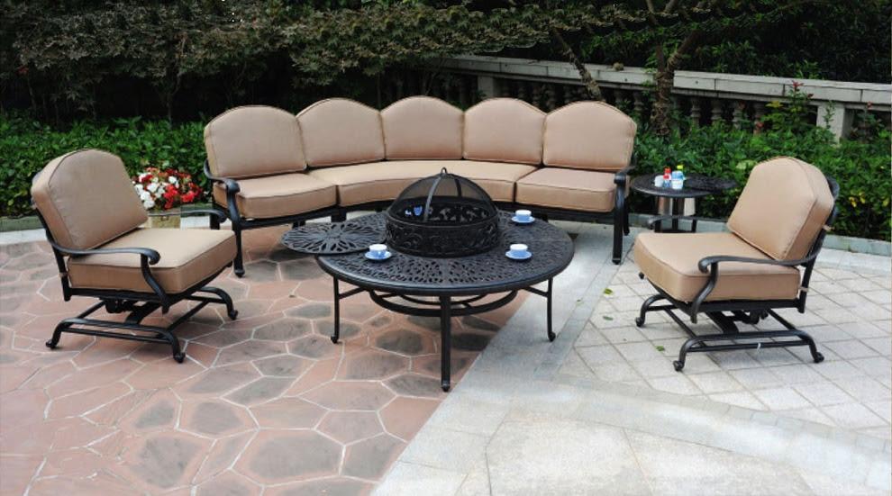 Patio Furniture Deep Seating Sectional Cast Aluminum Sofa ...