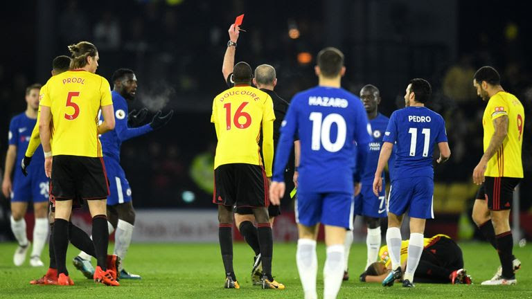 Tiemoue Bakayoko was sent off after 30 minutes