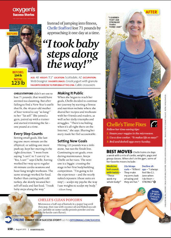 Chelle Stafford Weight loss success story, Oxygen Magazine, August 2011