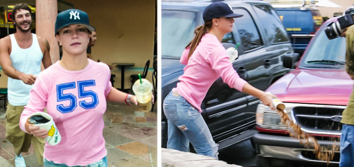 3 - Britney Spears loves spilling soda on the paparazzi.