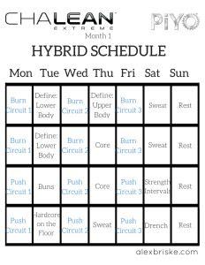beachbody chalean extreme piyo hybrid schedule fitness