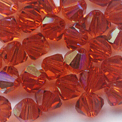 27753011451374 Swarovski Bead - 4 mm Faceted Bicone (5301) - Indian Red AB (36)
