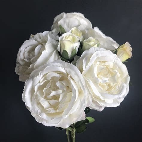 Antique White Silk Rose with a Bud   Heavenly Homes
