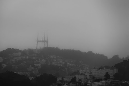 Sutro Tower disappears into the fog