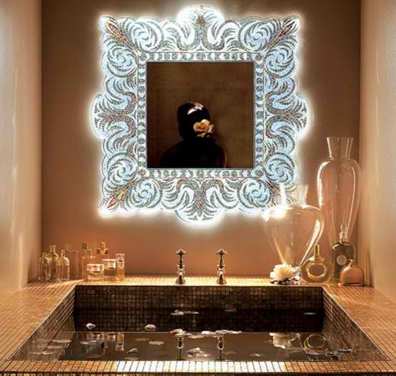 light glass mosaic mirror