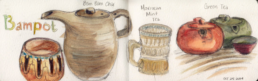 Toronto Urban Sketchers Bampot Tea watercolor illustrations by MJ
