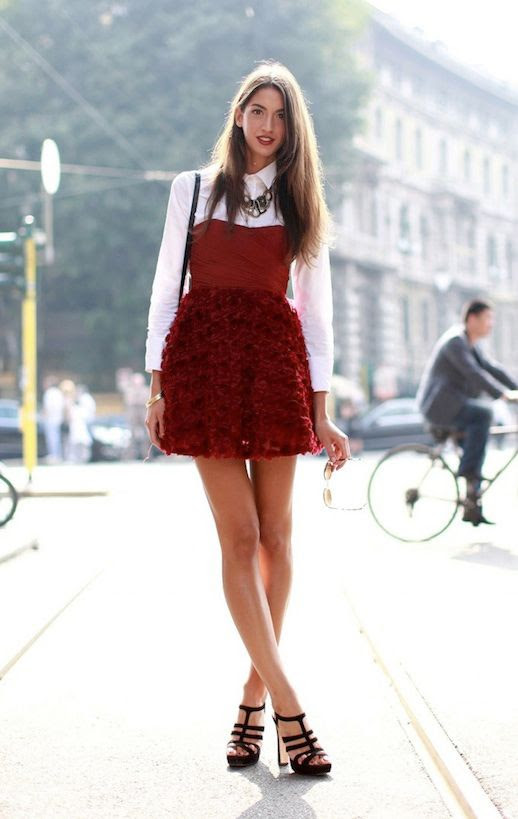 LE FASHION CLASSIC EASY COMBO PART 7 STRAPLESS DRESS WITH SHIRT VIA REFINERY29 MILAN FASHION WEEK STREET STYLE LAYER SHIRT UNDER STRAPLESS DRESS RED FLORETTE RUFFLED DRESS STATEMENT NECKLACE STRAPPY BLACK HEELED SANDALS photo LEFASHIONCLASSICEASYCOMBOPART7STRAPLESSDRESSWITHSHIRTVIAREFINERY291.jpg