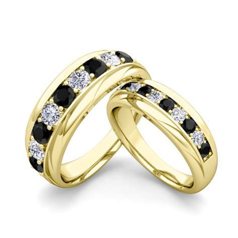 His and Hers Wedding Band 14k Gold Black Diamond Wedding Rings