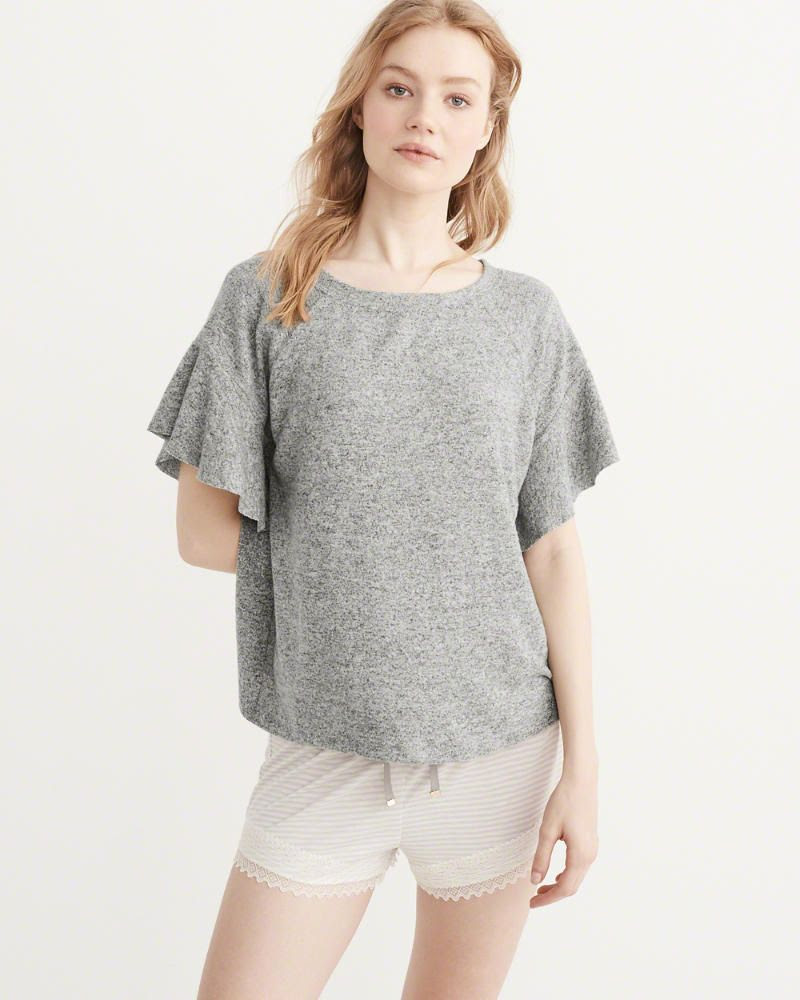 Flutter Sleeve Tee in Grey