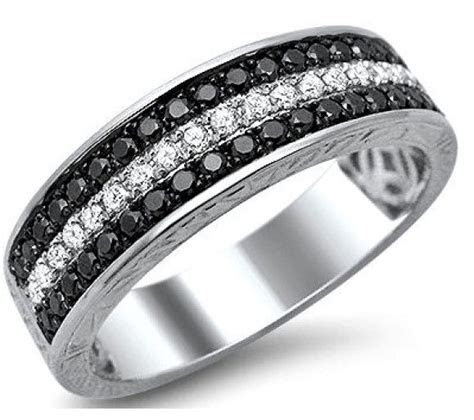 Mens .85ct Black White Round Diamond Pave Wedding Band