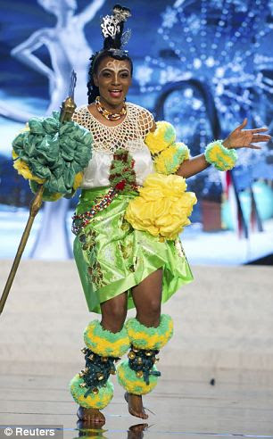 Miss Nigeria: Isabella Agbor Ojong Ayuk appeared in a colorful yellow and lime number