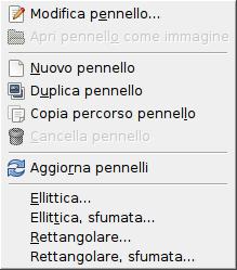 Il menu contestuale dei pennelli