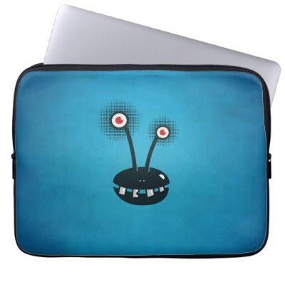 Blue Funny Halftone Cartoon Alien Computer Sleeves