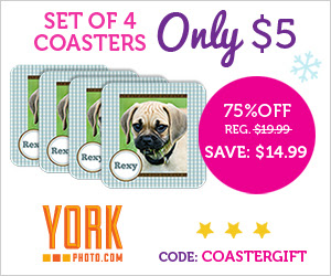 Set Of 4 Custom Photo Coasters - Just $5 - Save $14.99!