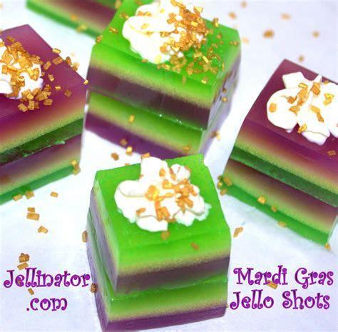 Colorful Mardi Gras jello shots recipe.   Jellinator