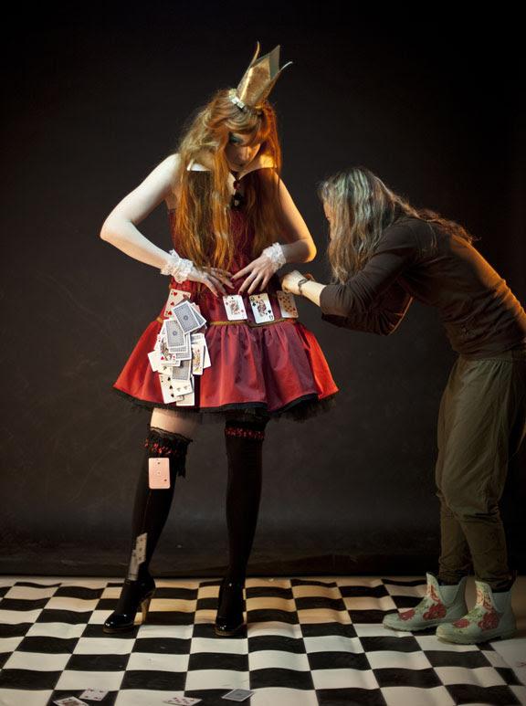 adjusting the dress...behind the scenes:)