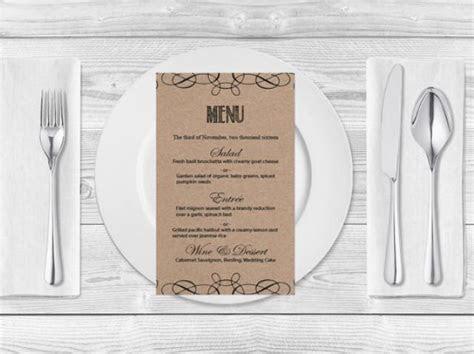 Kraft Paper Wedding Menu Template  Rustic Swirls Printable