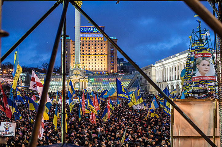 Ukrainian protests thousands anti-government independence square Kiev