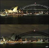 Sydney antes e depois de apagar as luzes a 29 de Março