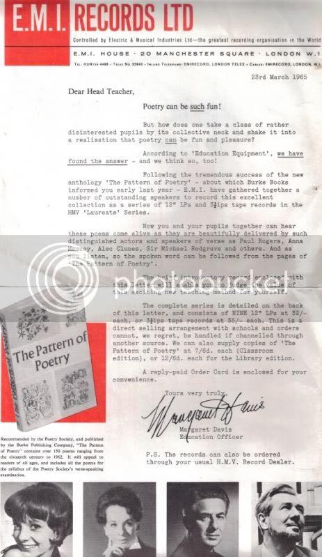 HMV Poetry Society letter