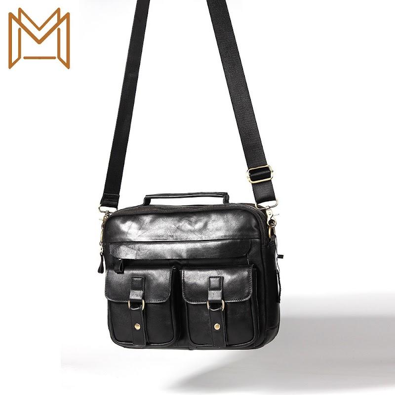 TOP !! Man Single Shoulder Package Genuine Leather Leisure Time Head Layer Cowhide Capacity Handbag
