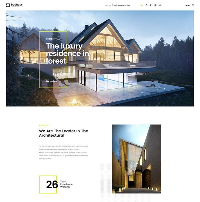 Bauhaus |  Plantilla de la arquitectura y interior PSD