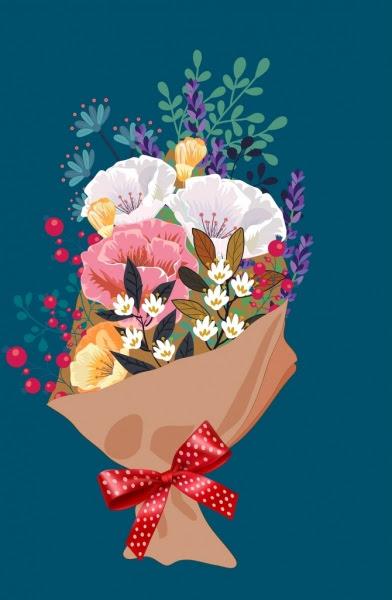 çiçek Buketi Boyama Klasik Renkli Dekor Vektör çiçek Bedava Vektör