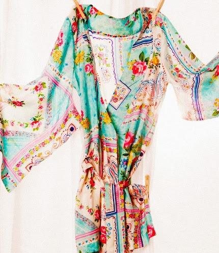 Kimono Style Robe.  Knee Length.  Habutai Silk.