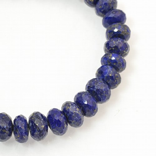 s18990 Stone Beads - 6 mm Faceted Rondelle - Lapis Lazuli (strand)