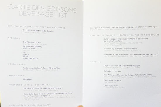 Air France New Business Class Menu