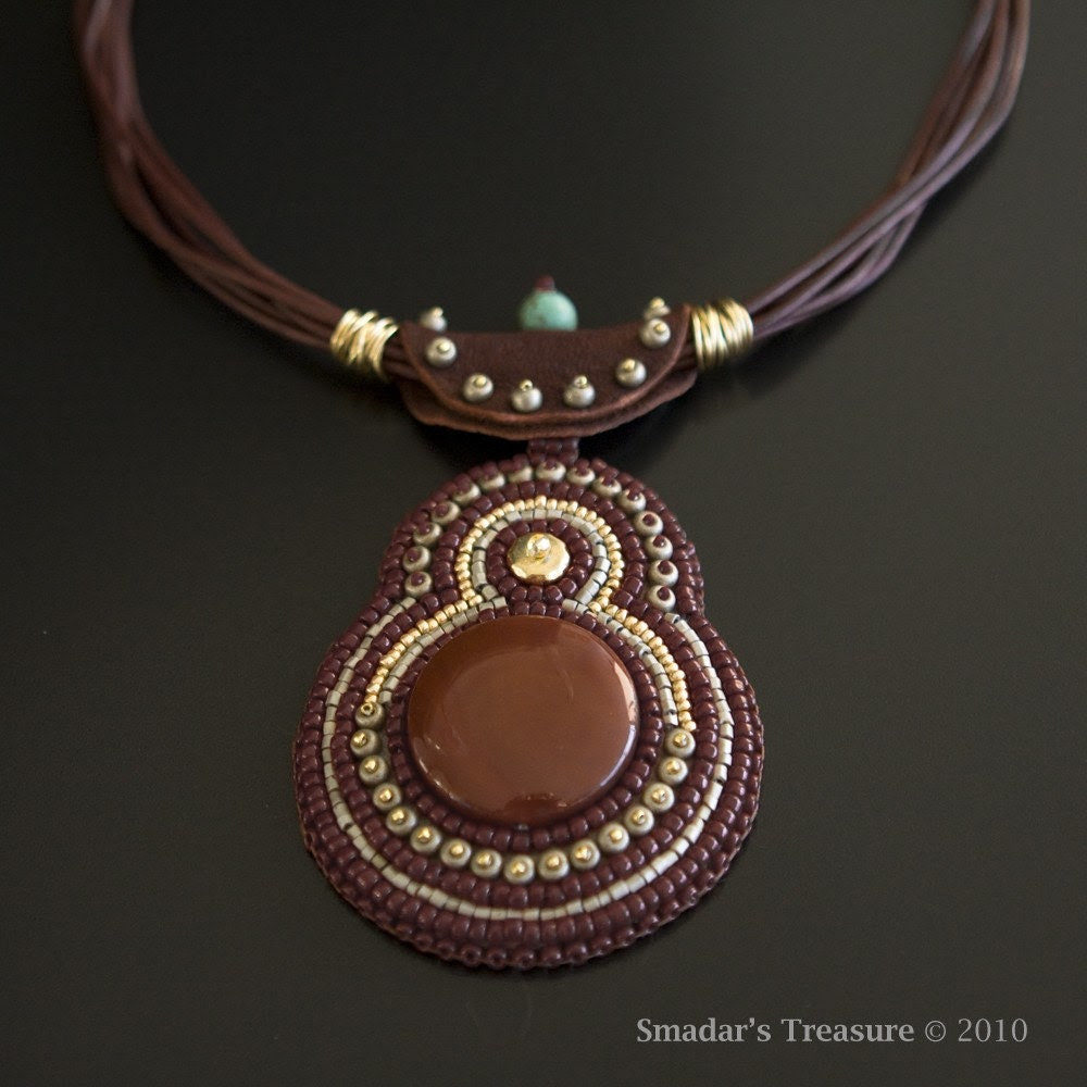 Leather Tribal Beaded Necklace with Carnelian and Turquoise Pendant