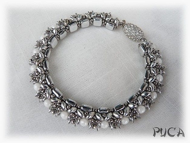 """Tutoriels, Schéma ...Bracelet """" Jasmine"""" est une création orginale de PUCA sur DaWanda"""