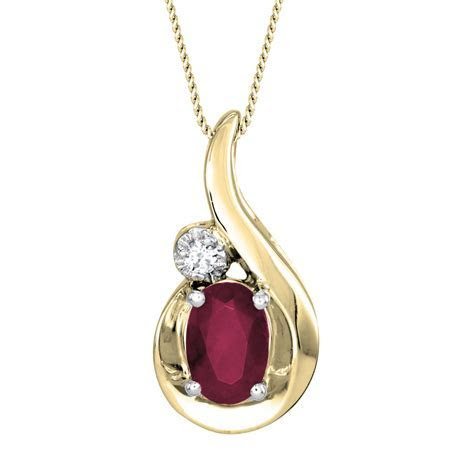 Oval Ruby and Diamond Pendant Necklace in 10K Yellow Gold