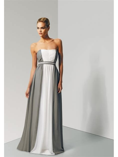 Cheap A line Grey White Long Chiffon Bridesmaid Dresses