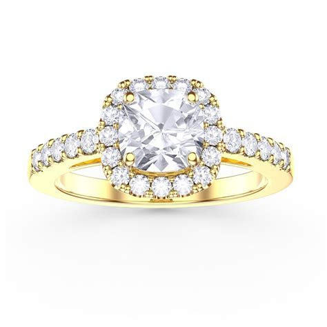 Princess Diamond Solitaire Cushion Cut Halo 18ct Yellow