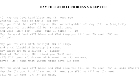 Song May The Good Lord Bless And Keep You Lyrics