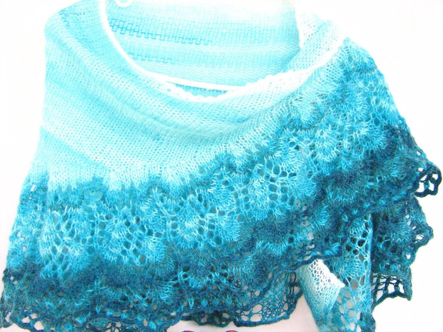 Angora yarn knit lace shawl. Gift her, wedding ,birthday, bridal, valnetine gift.FREE SHIPPING. - ATLASKNITSHOP