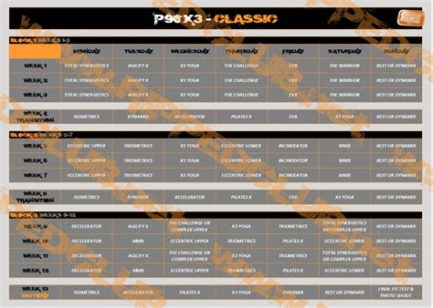 px workout schedule   calendars   phases