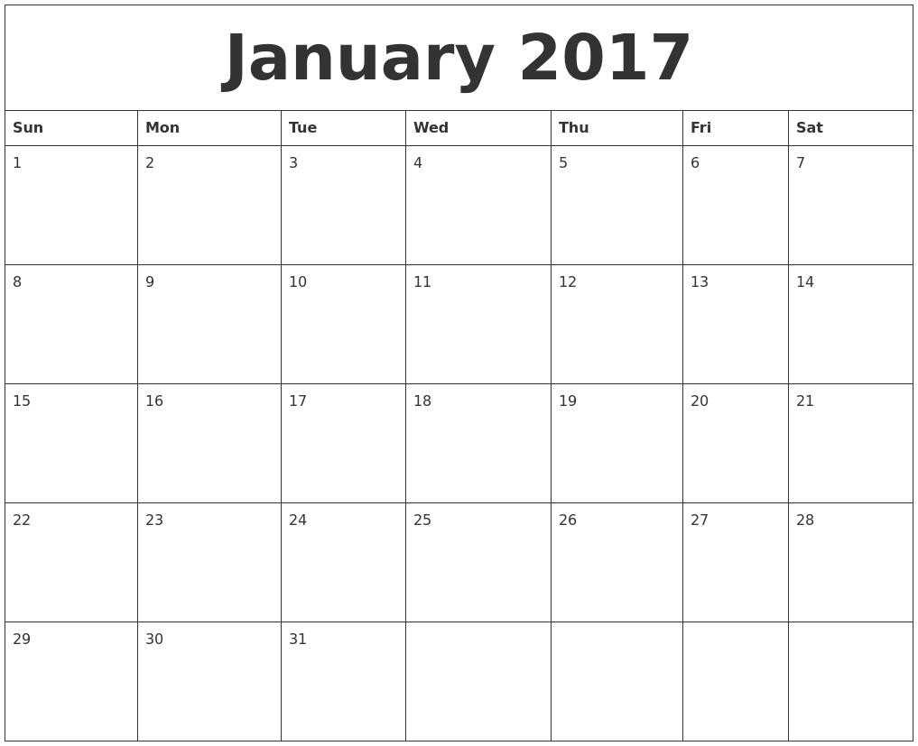 April 2017 Print Online Calendar