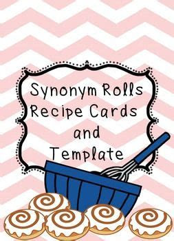 synonym roll template  recipe cards literacy