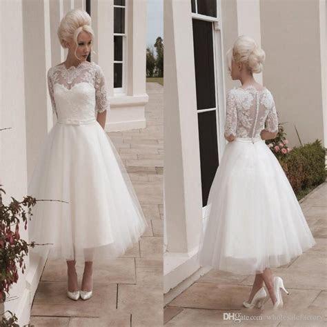 Vintage Short Wedding Dresses Ball Gown Tea Length 1/2