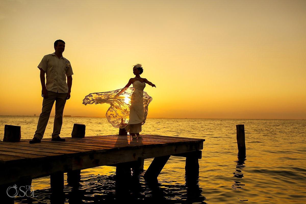 Mexico beach wedding Isla Mujeres Zama Beach sunset