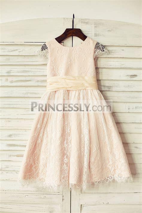 Blush Pink Satin Ivory Lace Cap Sleeves Flower Girl Dress