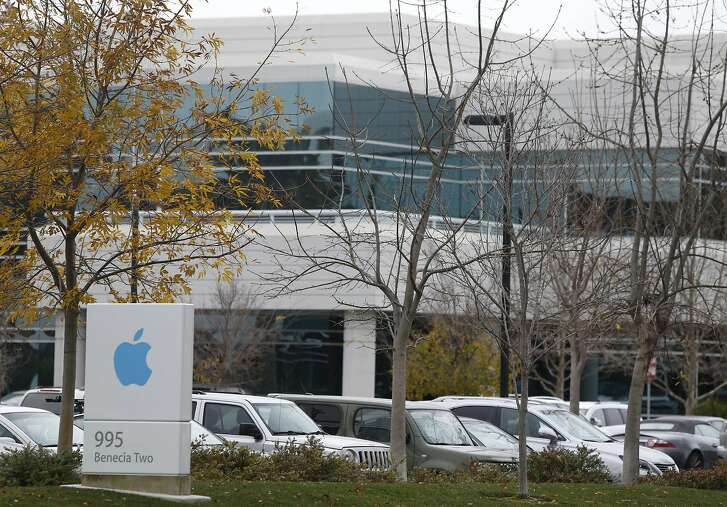 Apple business offices are seen in Sunnyvale, Calif. on Thursday, Jan. 14, 2016. The Silicon Valley giant is rapidly expanding its office space even as the new corporate headquarters is under construction nearby.
