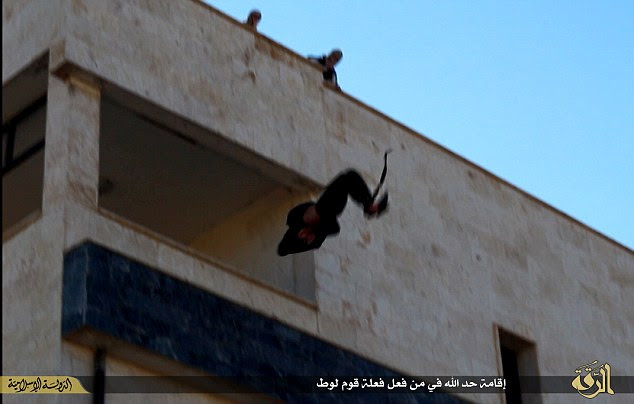 Plummeting to his death: The unnamed man was accused of being homosexual and sentenced to death by an Islamic court in Raqqa.