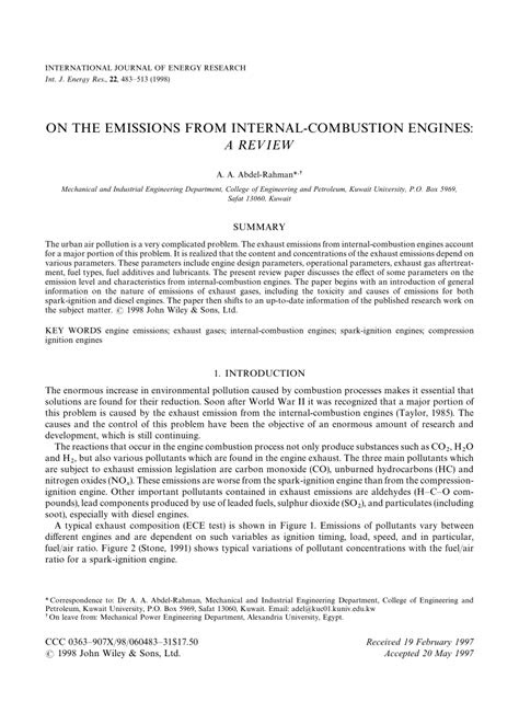 (PDF) On the emission from internal combustion engines: A