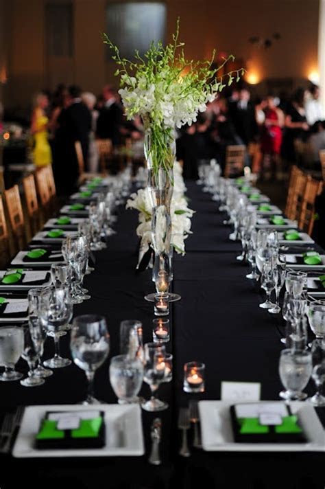 Green, black and white estate table setting {Wedding