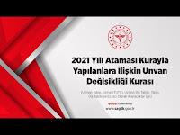 2021 Yılı Ataması Kurayla Yapılanlara İlişkin Unvan Değişikliği Kurası - T.C. Sağlık Bakanlığı